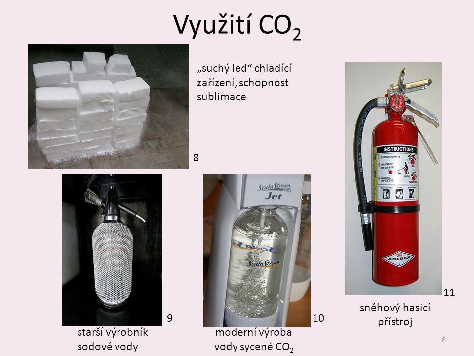 """Využití CO2 """"suchý led chladící zařízení, schopnost sublimace 8 11"""