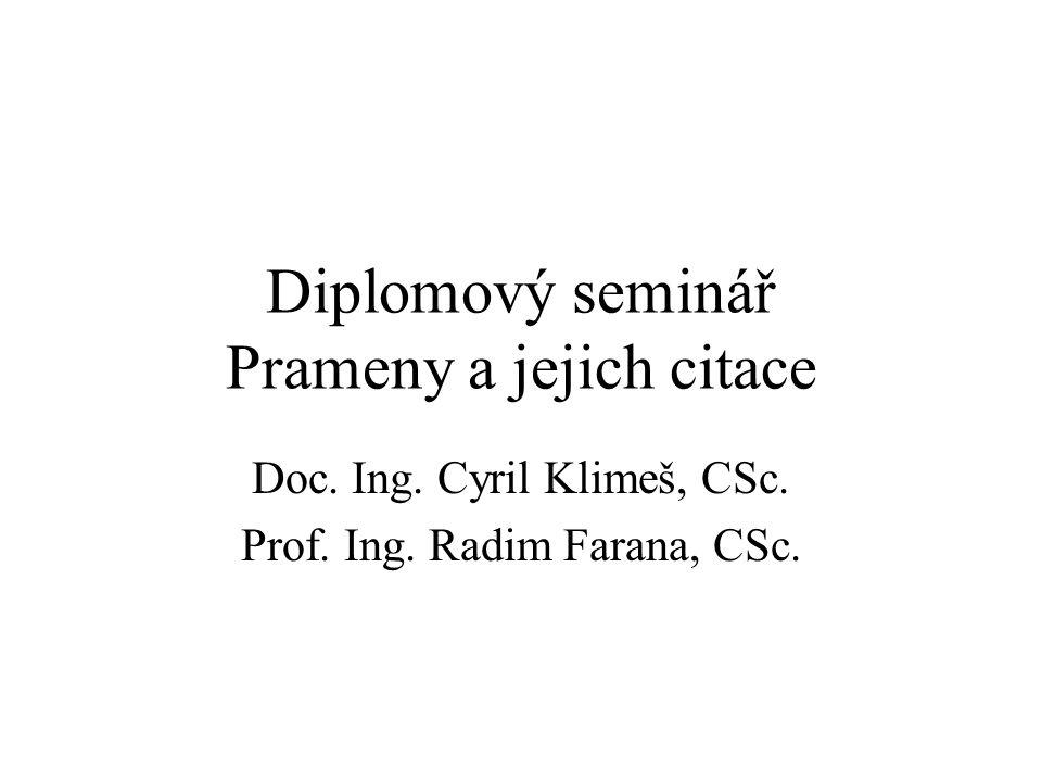 Diplomový seminář Prameny a jejich citace