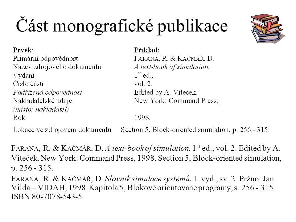 Část monografické publikace