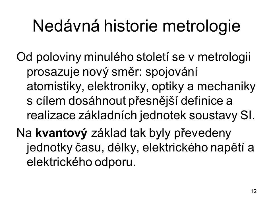 Nedávná historie metrologie