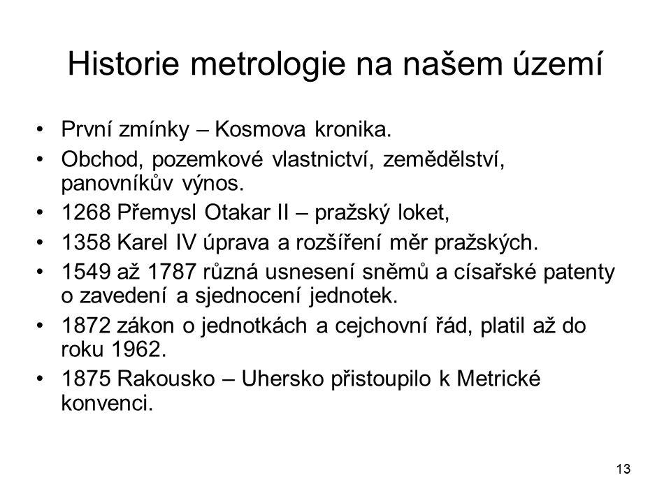 Historie metrologie na našem území