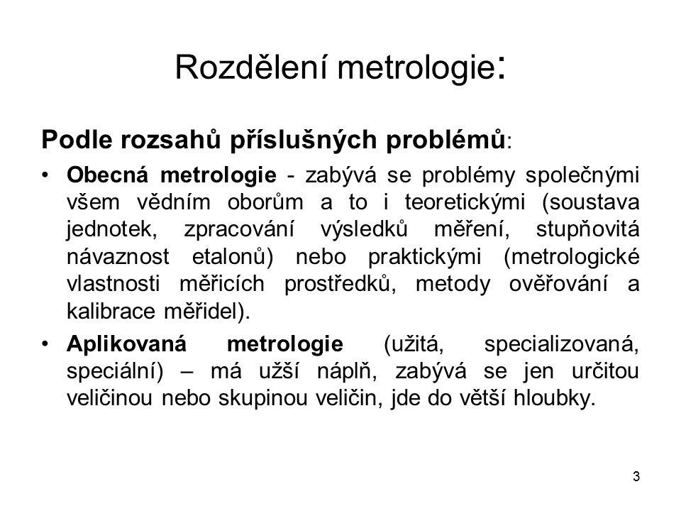 Rozdělení metrologie: