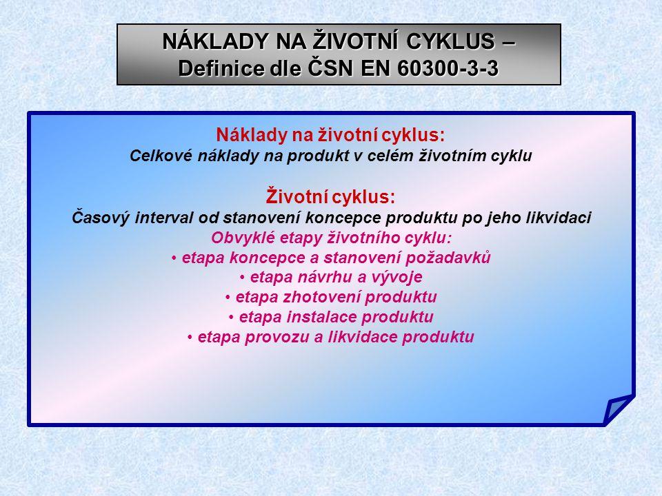 NÁKLADY NA ŽIVOTNÍ CYKLUS – Definice dle ČSN EN 60300-3-3