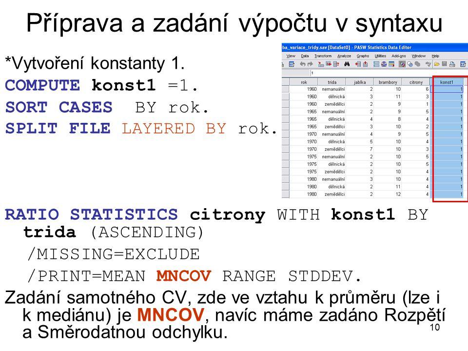 Příprava a zadání výpočtu v syntaxu
