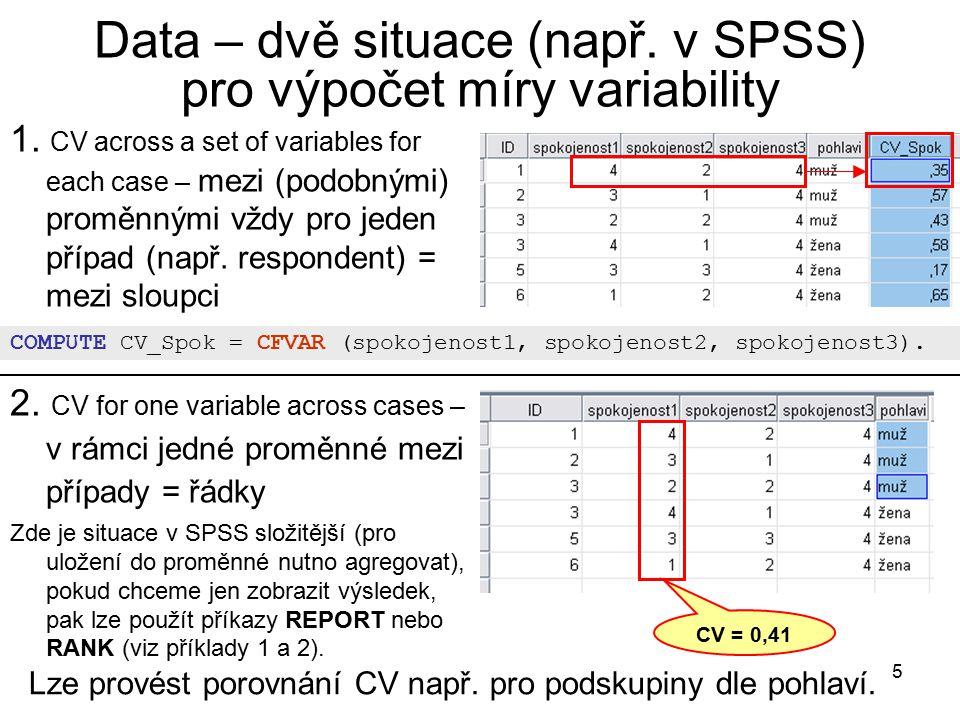 Data – dvě situace (např. v SPSS) pro výpočet míry variability