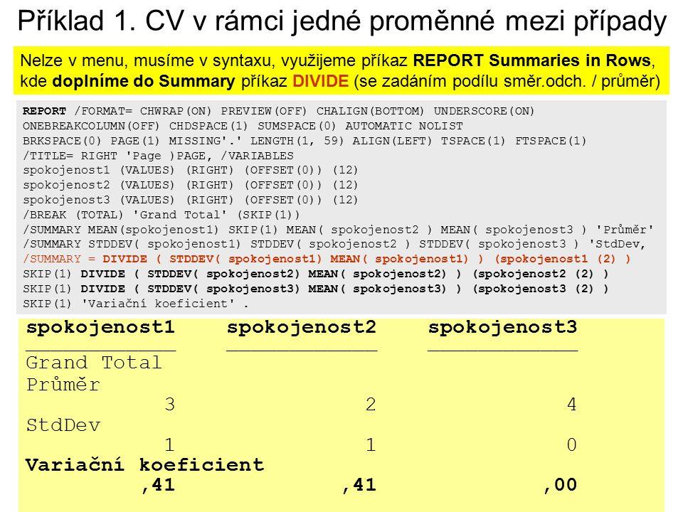 Příklad 1. CV v rámci jedné proměnné mezi případy