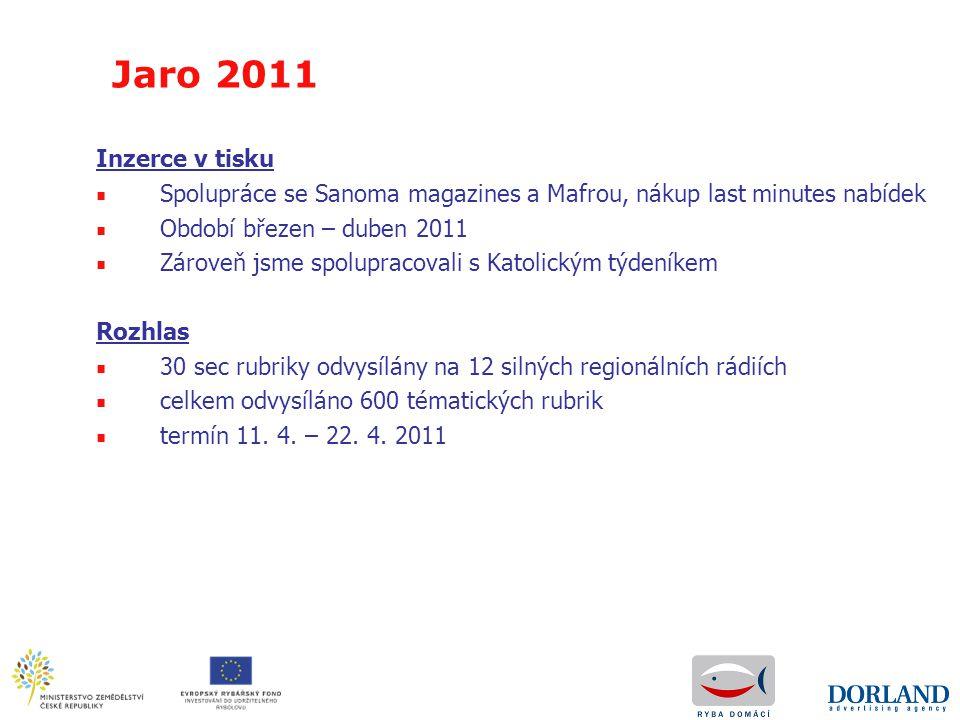 Jaro 2011 Inzerce v tisku. Spolupráce se Sanoma magazines a Mafrou, nákup last minutes nabídek. Období březen – duben 2011.