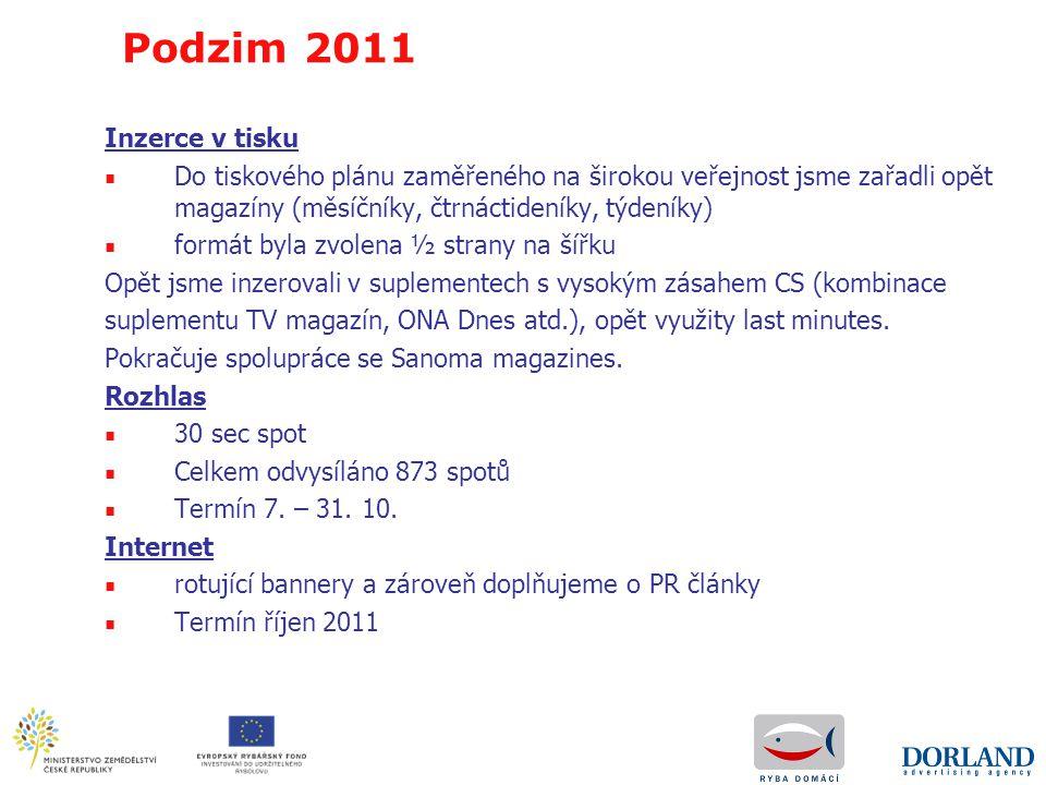 Podzim 2011 Inzerce v tisku. Do tiskového plánu zaměřeného na širokou veřejnost jsme zařadli opět magazíny (měsíčníky, čtrnáctideníky, týdeníky)