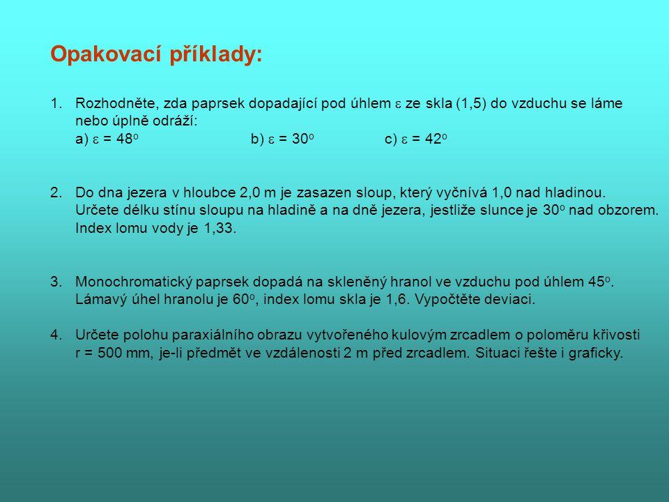 Opakovací příklady: Rozhodněte, zda paprsek dopadající pod úhlem  ze skla (1,5) do vzduchu se láme.