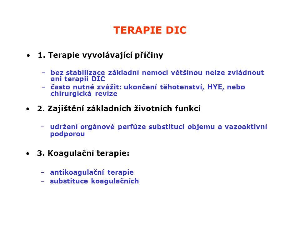 TERAPIE DIC 1. Terapie vyvolávající příčiny