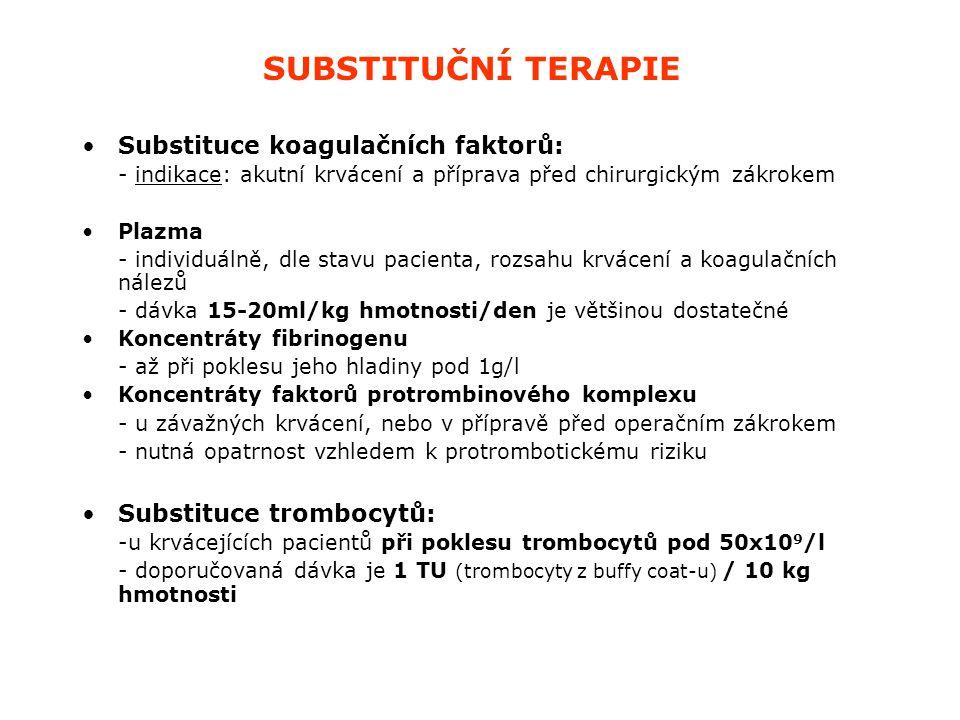 SUBSTITUČNÍ TERAPIE Substituce koagulačních faktorů: