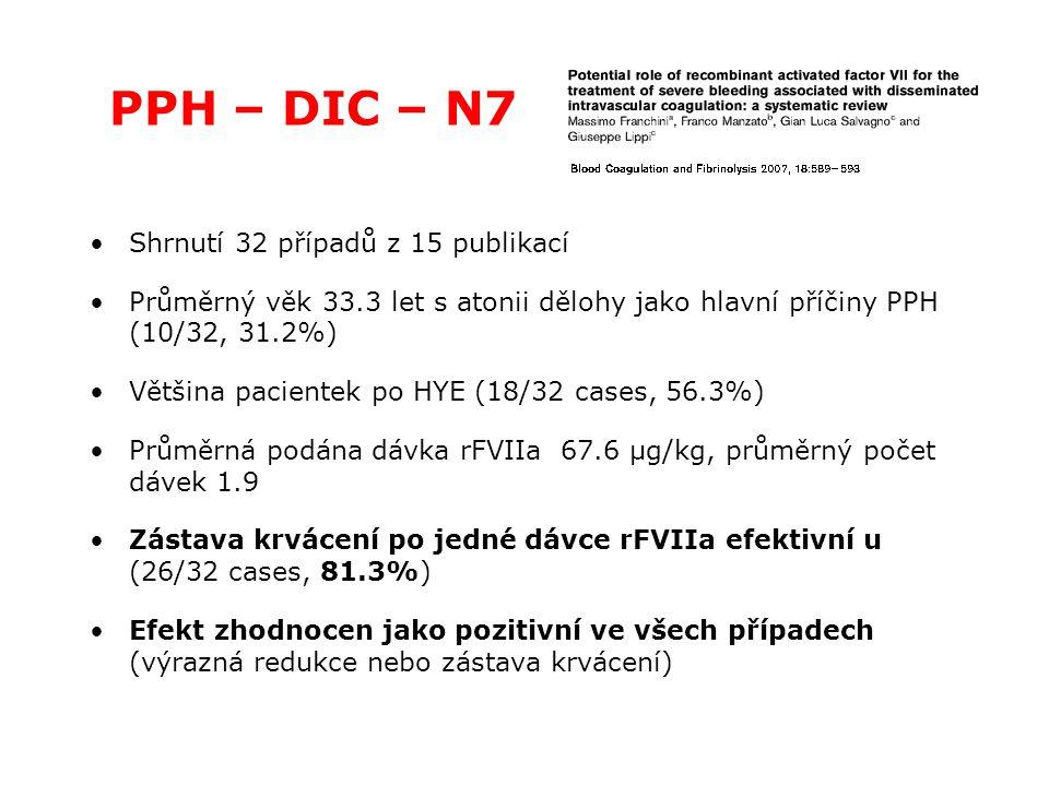PPH – DIC – N7 Shrnutí 32 případů z 15 publikací