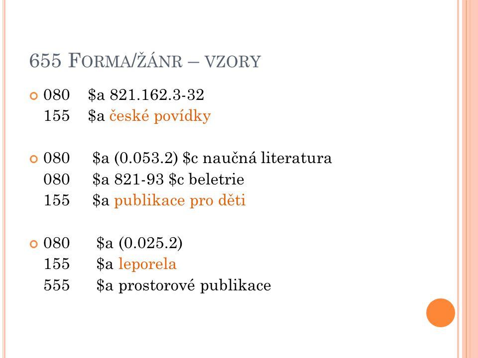 655 Forma/žánr – vzory 080 $a 821.162.3-32 155 $a české povídky