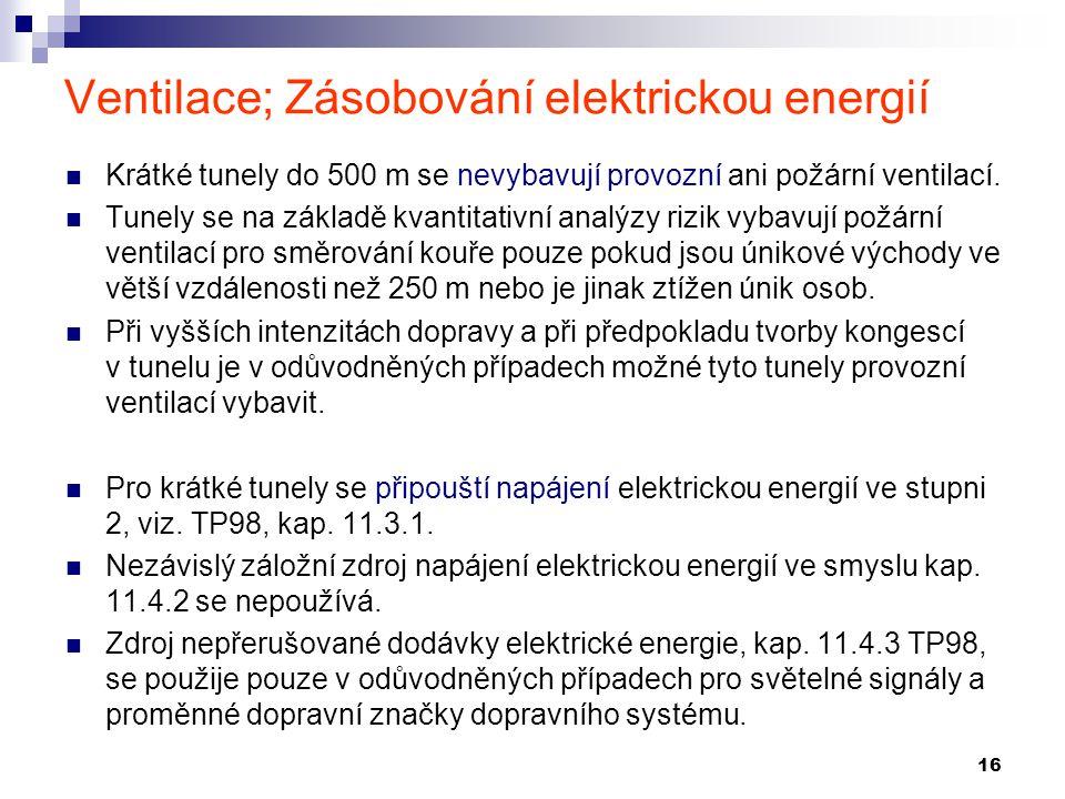 Ventilace; Zásobování elektrickou energií