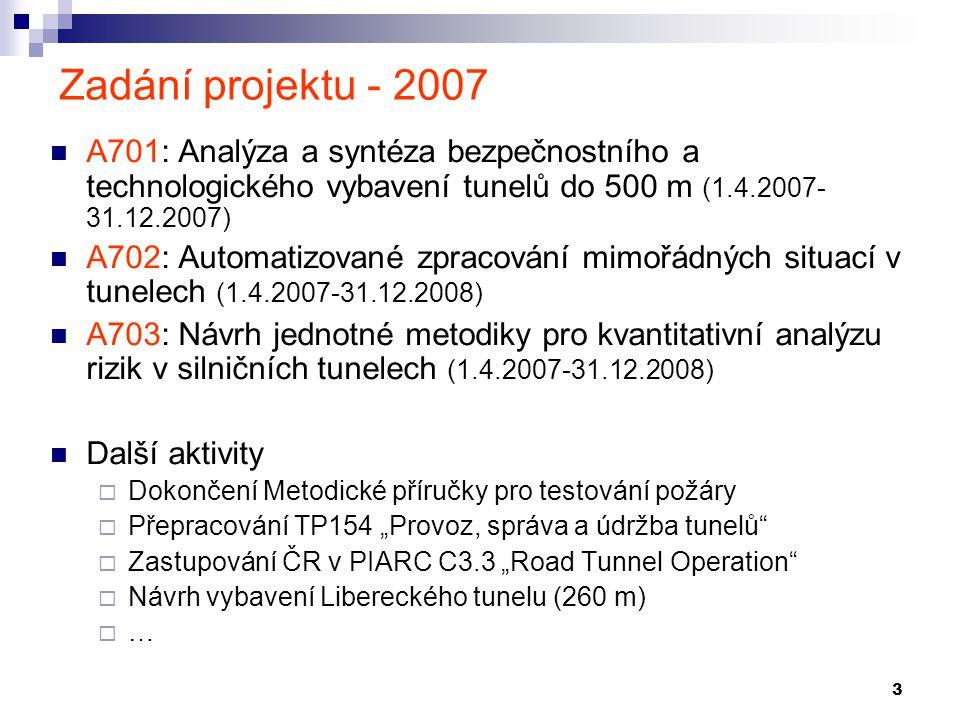 Zadání projektu - 2007 A701: Analýza a syntéza bezpečnostního a technologického vybavení tunelů do 500 m (1.4.2007-31.12.2007)