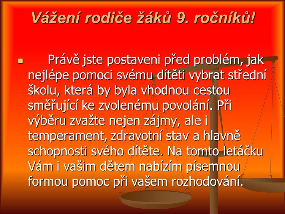 Vážení rodiče žáků 9. ročníků!