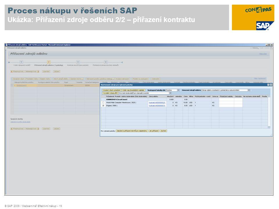 Proces nákupu v řešeních SAP Ukázka: Přiřazení zdroje odběru 2/2 – přiřazení kontraktu