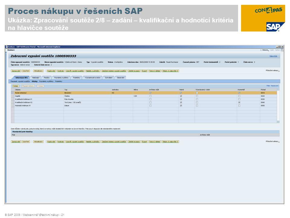 Proces nákupu v řešeních SAP Ukázka: Zpracování soutěže 2/8 – zadání – kvalifikační a hodnotící kritéria na hlavičce soutěže