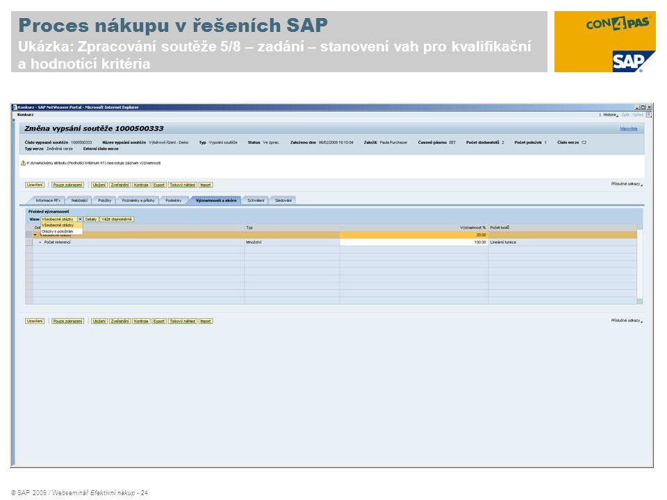 Proces nákupu v řešeních SAP Ukázka: Zpracování soutěže 5/8 – zadání – stanovení vah pro kvalifikační a hodnotící kritéria