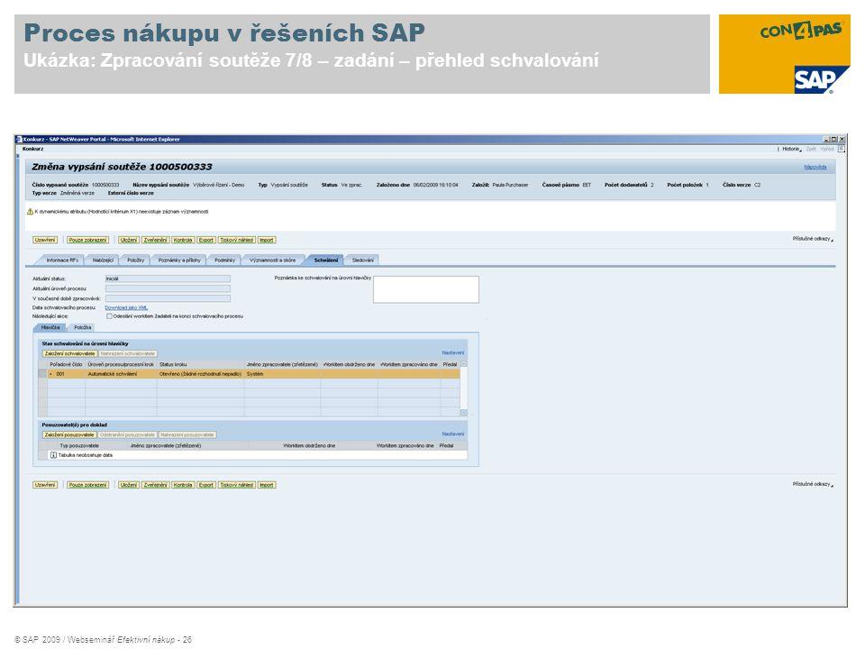 Proces nákupu v řešeních SAP Ukázka: Zpracování soutěže 7/8 – zadání – přehled schvalování