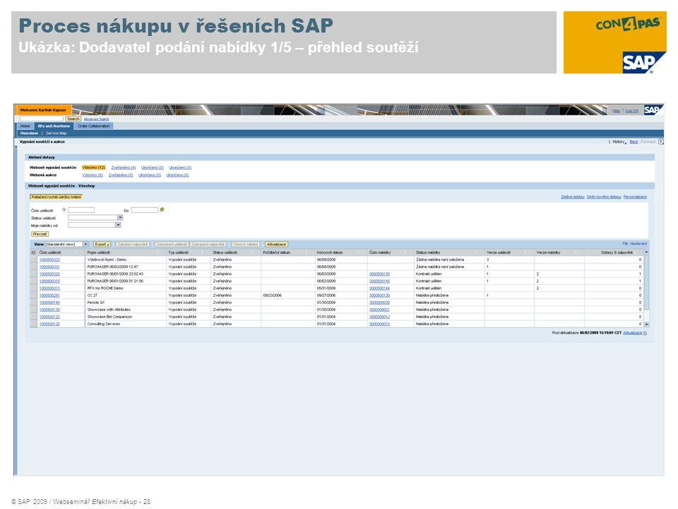 Proces nákupu v řešeních SAP Ukázka: Dodavatel podání nabídky 1/5 – přehled soutěží