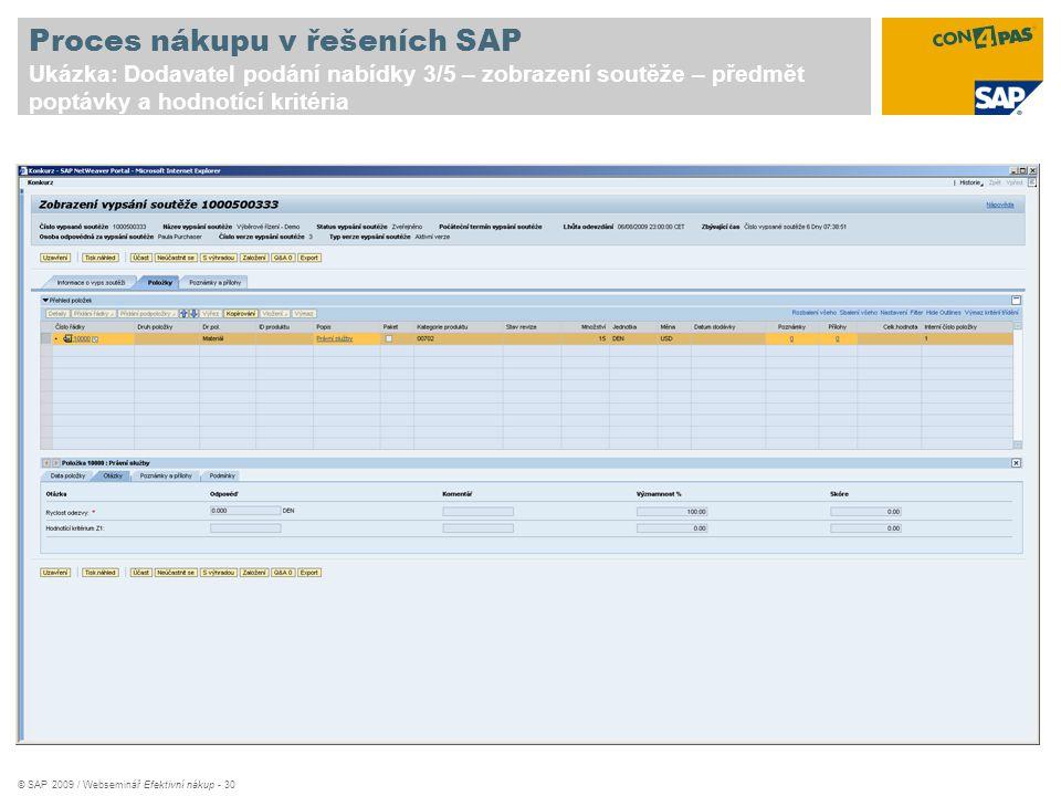 Proces nákupu v řešeních SAP Ukázka: Dodavatel podání nabídky 3/5 – zobrazení soutěže – předmět poptávky a hodnotící kritéria