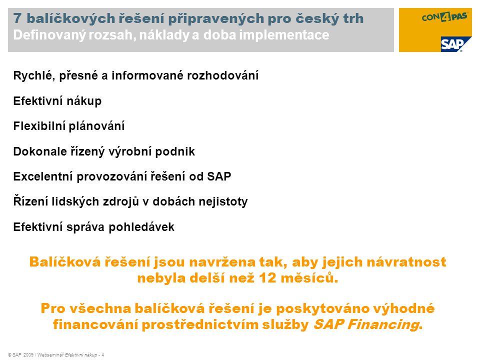 7 balíčkových řešení připravených pro český trh Definovaný rozsah, náklady a doba implementace
