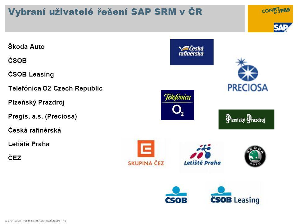Vybraní uživatelé řešení SAP SRM v ČR