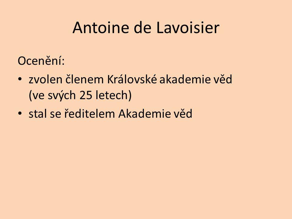 Antoine de Lavoisier Ocenění: