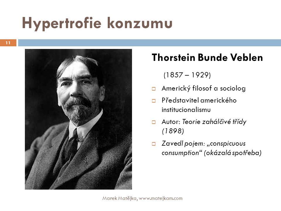 Hypertrofie konzumu Thorstein Bunde Veblen (1857 – 1929)