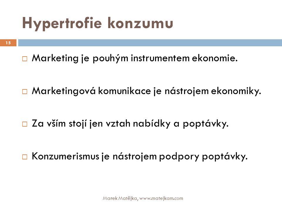 Hypertrofie konzumu Marketing je pouhým instrumentem ekonomie.
