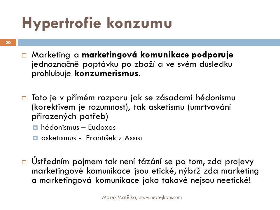 Hypertrofie konzumu Marketing a marketingová komunikace podporuje jednoznačně poptávku po zboží a ve svém důsledku prohlubuje konzumerismus.