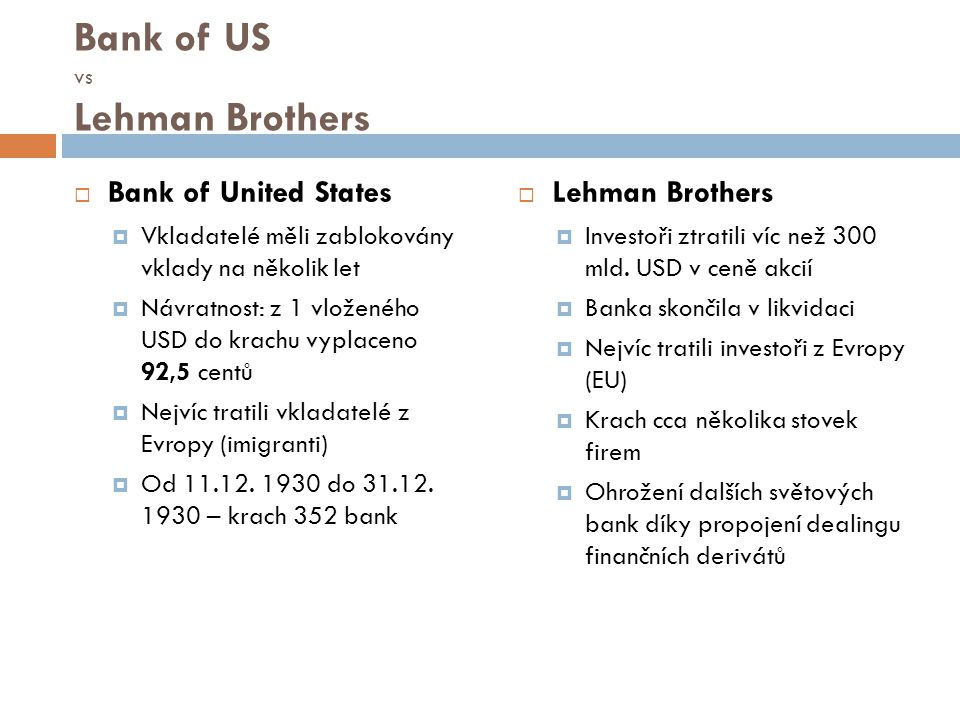 Bank of US vs Lehman Brothers