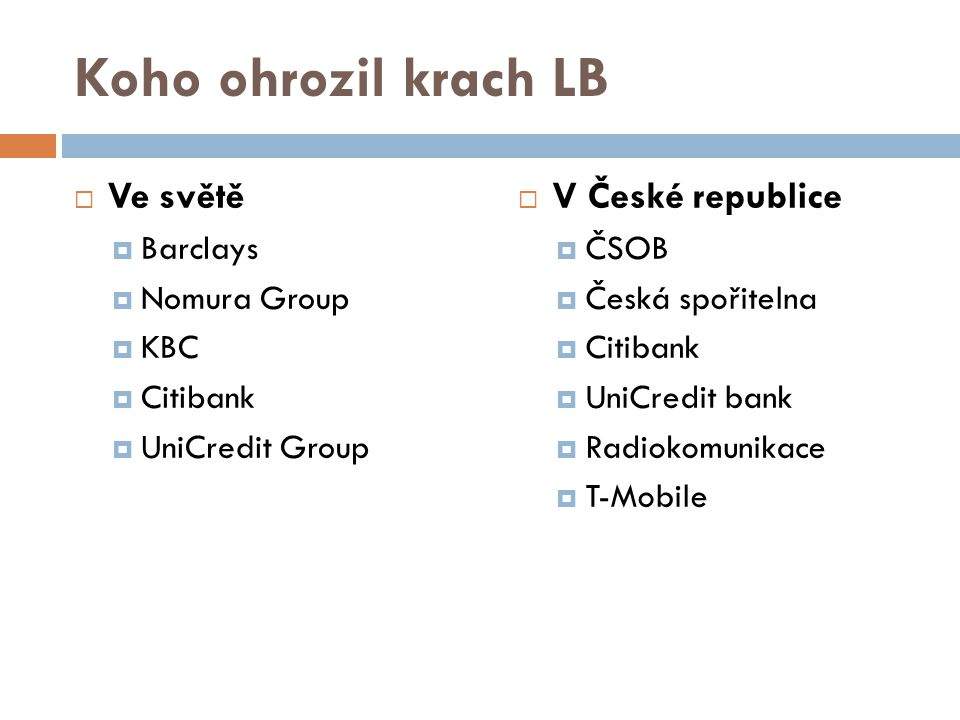 Koho ohrozil krach LB Ve světě V České republice Barclays Nomura Group