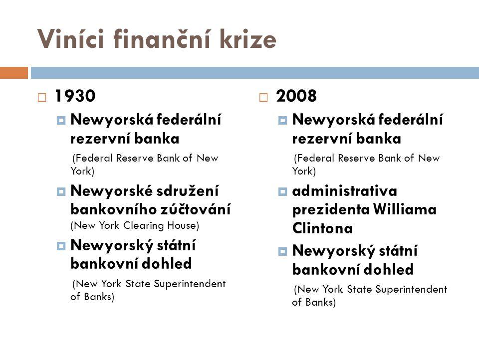 Viníci finanční krize 1930 2008 Newyorská federální rezervní banka