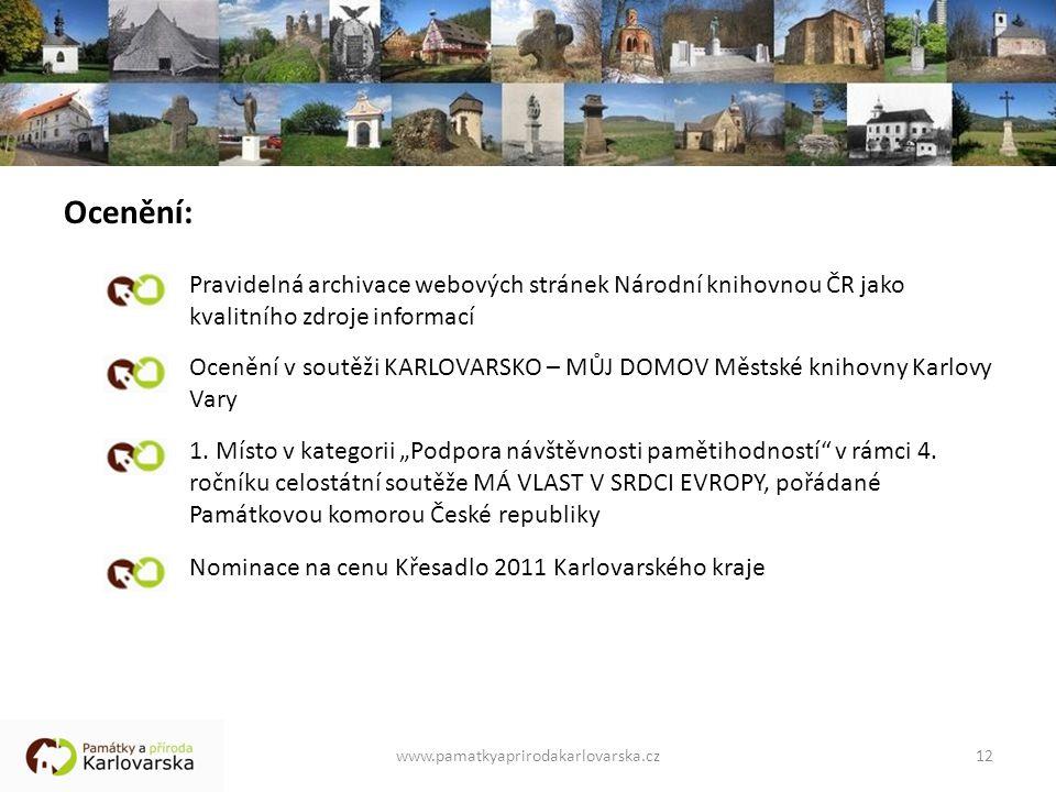 Ocenění: Pravidelná archivace webových stránek Národní knihovnou ČR jako kvalitního zdroje informací.