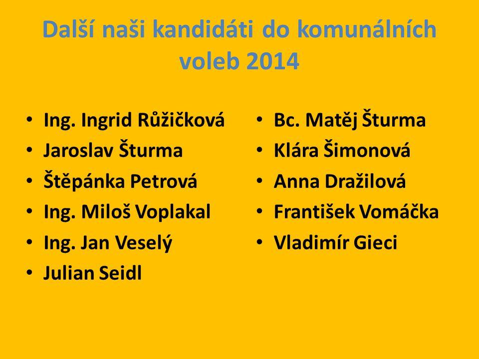 Další naši kandidáti do komunálních voleb 2014