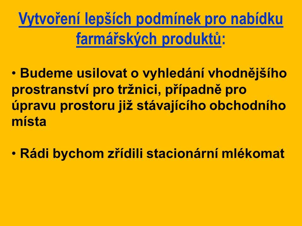 Vytvoření lepších podmínek pro nabídku farmářských produktů: