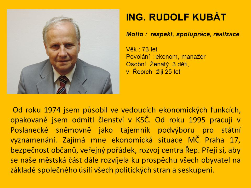 ING. RUDOLF KUBÁT Motto : respekt, spolupráce, realizace. Věk : 73 let Povolání : ekonom, manažer.