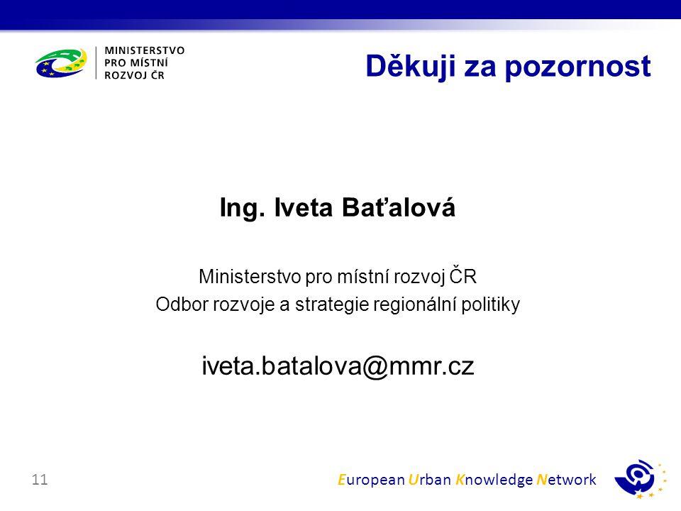 Děkuji za pozornost Ing. Iveta Baťalová iveta.batalova@mmr.cz