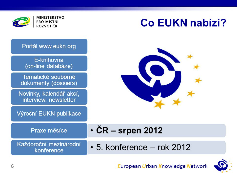 Co EUKN nabízí Portál www.eukn.org E-knihovna (on-line databáze)