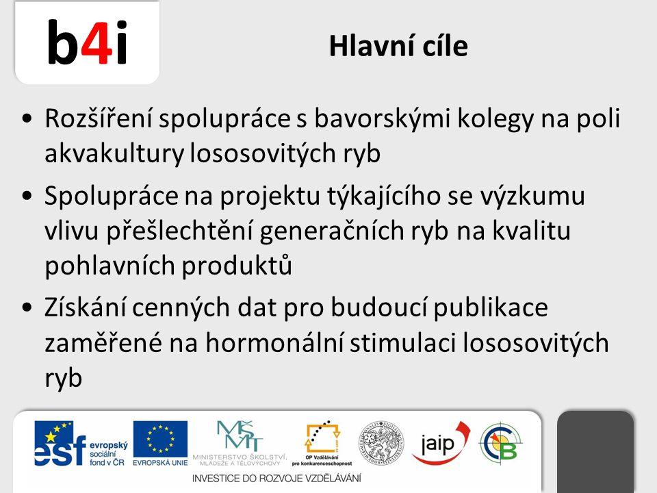Hlavní cíle Rozšíření spolupráce s bavorskými kolegy na poli akvakultury lososovitých ryb.