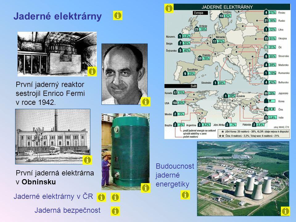Jaderné elektrárny První jaderný reaktor sestrojil Enrico Fermi v roce 1942. Budoucnost jaderné energetiky.