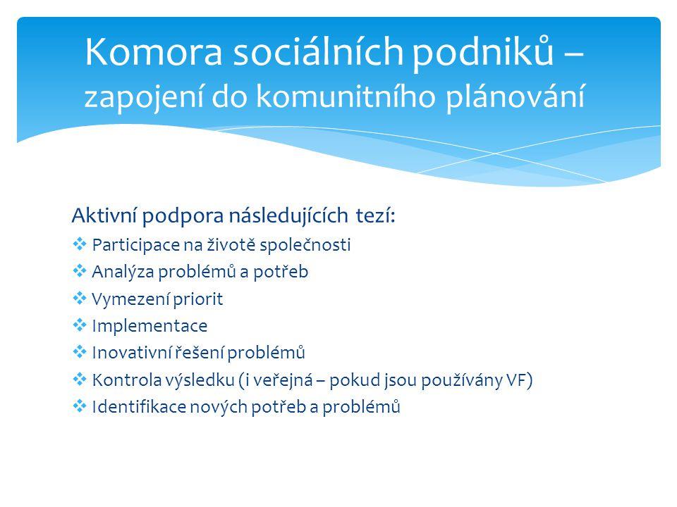 Komora sociálních podniků – zapojení do komunitního plánování