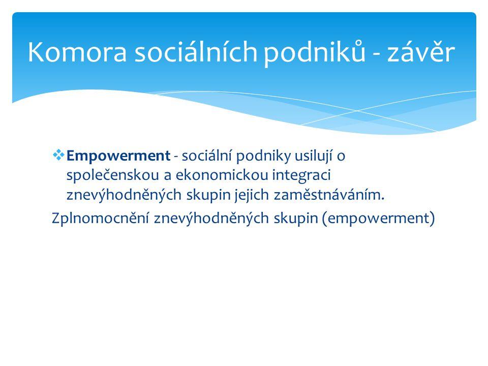 Komora sociálních podniků - závěr
