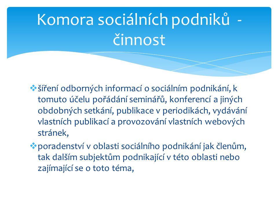 Komora sociálních podniků - činnost