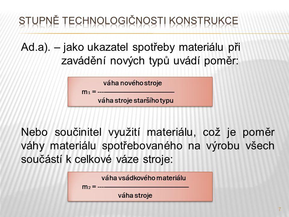 Stupně technologičnosti konstrukce