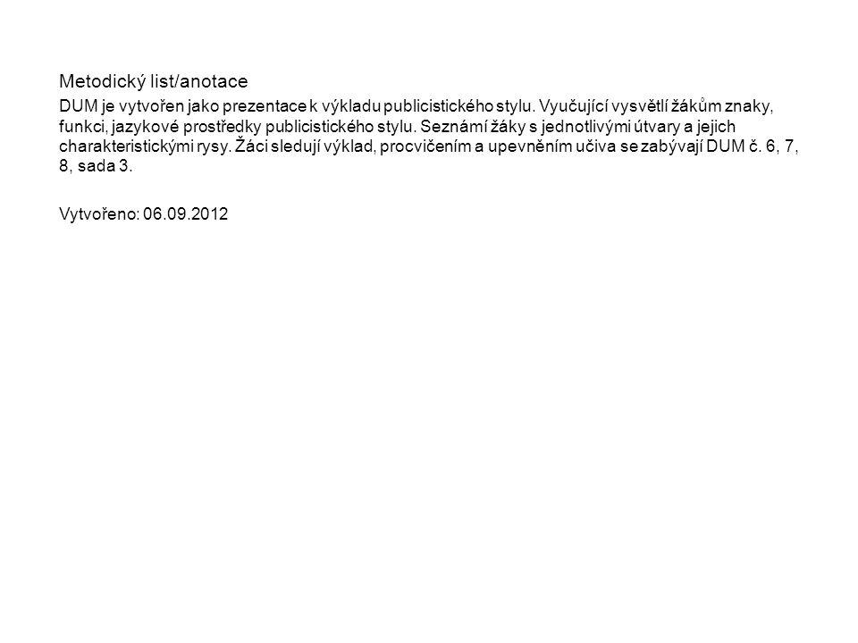 Metodický list/anotace