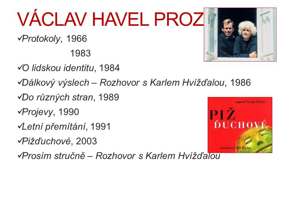 VÁCLAV HAVEL PROZAIK Protokoly, 1966 Dopisy Olz 1983