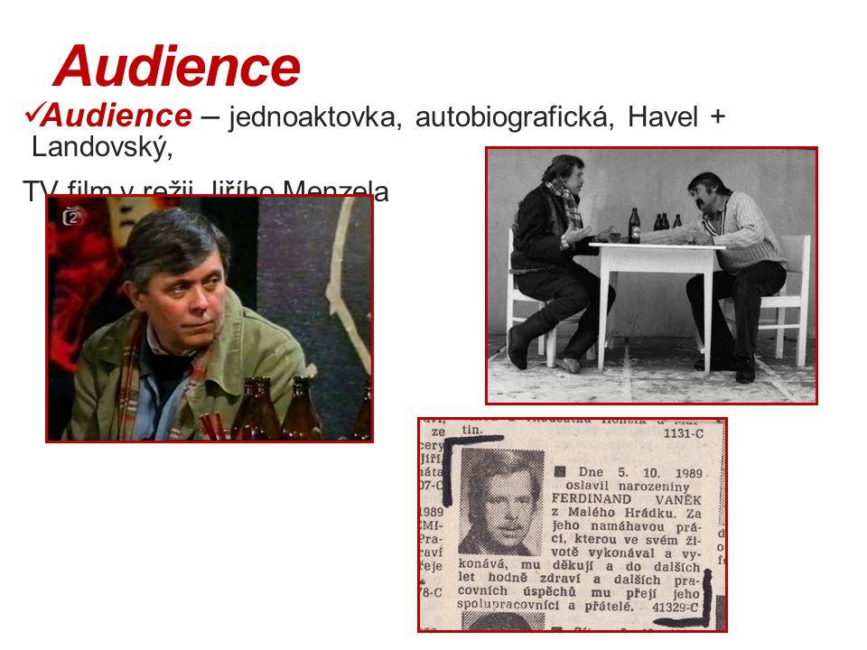 Audience Audience – jednoaktovka, autobiografická, Havel + Landovský,